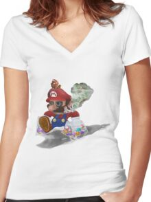 """""""Mushed Mario"""" (detailed) Women's Fitted V-Neck T-Shirt"""