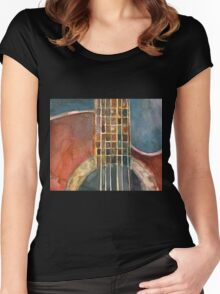 Ovation Acoustic Red Guitar Women's Fitted Scoop T-Shirt