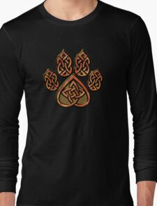 Celtic Knot Pawprint - Red Long Sleeve T-Shirt