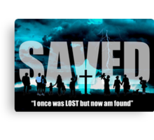 Not Lost but Saved by the blood of the Lamb - Jesus Saves Graphic Poster Canvas Print