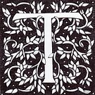 "Art Nouveau ""T"" (William Morris Inspired) by Donna Huntriss"