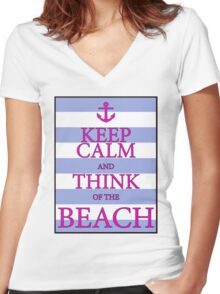 KEEP CALM AND THINK OF THE BEACH - Baby Blue/Pink Women's Fitted V-Neck T-Shirt