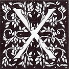 "Art Nouveau ""X"" (William Morris Inspired) by Donna Huntriss"