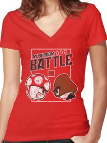 Mushroom Battle Women's Fitted V-Neck T-Shirt