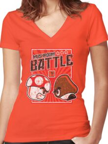 Mushroom Battle Women's Fitted V-Neck T-Shirt