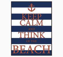 KEEP CALM AND THINK OF THE BEACH - Navy/Orange Kids Tee