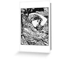 """Boreas"" - A trace monotype after John William Waterhouse. Greeting Card"