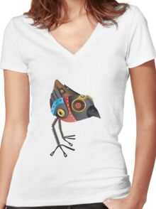 Robot Bird Women's Fitted V-Neck T-Shirt