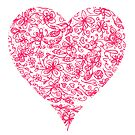 Pink Flower Heart by Carla Martell