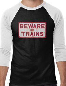 Beware of Trains Sign Men's Baseball ¾ T-Shirt