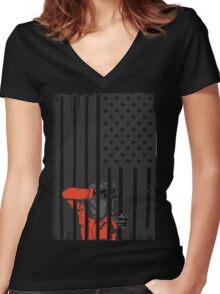 Guantanamo US Flag Political T-shirt. Prisoner behind bars. Women's Fitted V-Neck T-Shirt