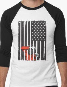 Guantanamo US Flag Political T-shirt. Prisoner behind bars. Men's Baseball ¾ T-Shirt