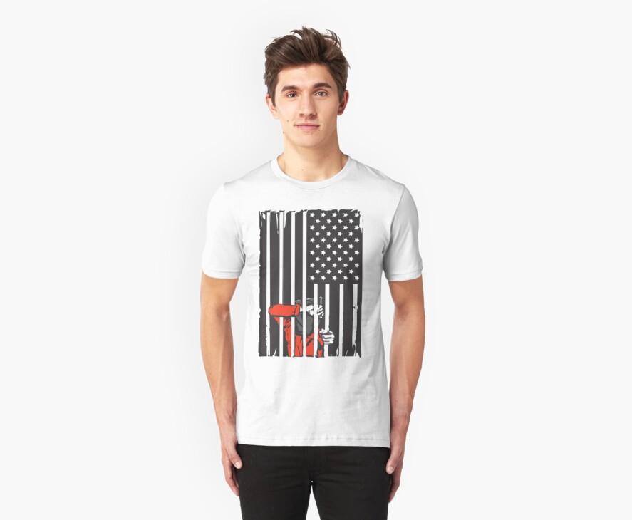 Guantanamo US Flag Political T-shirt. Prisoner behind bars. by AllRiot-tshirts