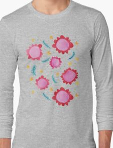 Painted Flowers red Long Sleeve T-Shirt
