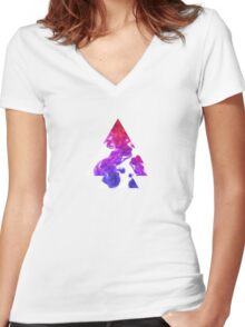 Abstract Geometry: Swirling Psychedelic Oils (Purple/Pink/White) Women's Fitted V-Neck T-Shirt