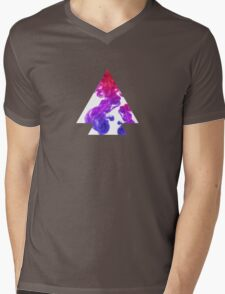 Abstract Geometry: Swirling Psychedelic Oils (Purple/Pink/White) Mens V-Neck T-Shirt