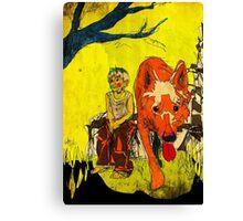 boy och dog Canvas Print