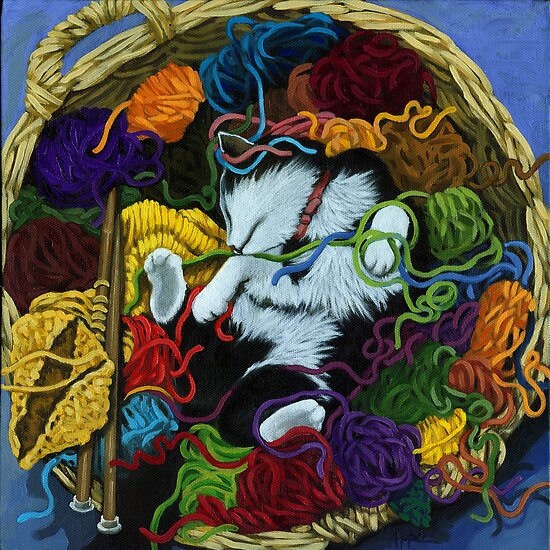 """Knitter's Helper"" - cat portrait painting by LindaAppleArt"
