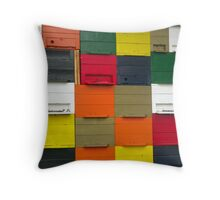 Rainbow Bees Throw Pillow