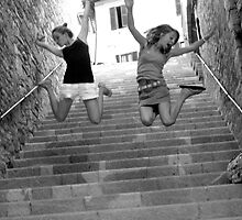 Jumping for joy in Assisi by Kathy Dellow