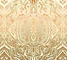 Tribal Swirl Pattern in Neutral Tan and Cream by micklyn