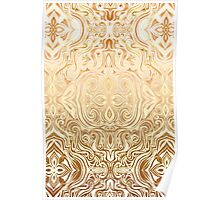 Tribal Swirl Pattern in Neutral Tan and Cream Poster