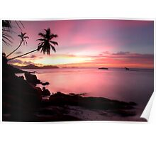 Pink sunset Ladigue, Seychelles island Poster