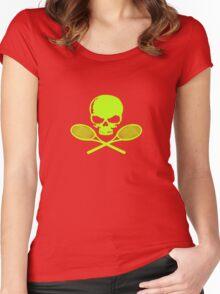 Skull crossed racquets tennis ladies geek funny nerd Women's Fitted Scoop T-Shirt