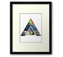 Abstract Geometry: Colorful Psychedelic Oils (White) Framed Print