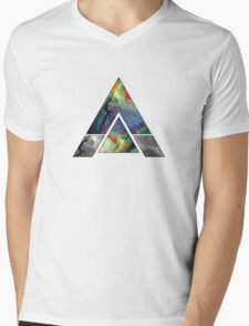 Abstract Geometry: Colorful Psychedelic Oils (White) Mens V-Neck T-Shirt