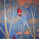 Cardinal and autumn leaves bedroom mural by redqueenself