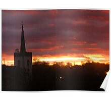 Winter sunset at Newmarket UK Poster