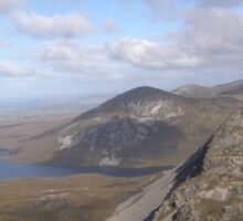 Mountain range view from Errigal Mountain Donegal Ireland Sticker