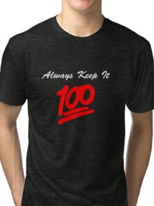 Keep it 100 Emoji Shirt alt Tri-blend T-Shirt