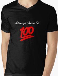 Keep it 100 Emoji Shirt alt Mens V-Neck T-Shirt