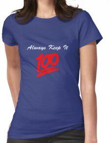 Keep it 100 Emoji Shirt alt Womens Fitted T-Shirt
