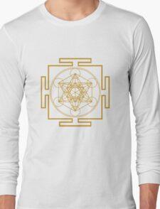Yantra metatrons cube merkaba sacred geometry geek funny nerd Long Sleeve T-Shirt