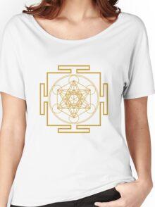 Yantra metatrons cube merkaba sacred geometry geek funny nerd Women's Relaxed Fit T-Shirt