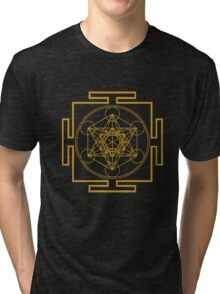 Yantra metatrons cube merkaba sacred geometry geek funny nerd Tri-blend T-Shirt