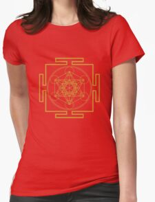 Yantra metatrons cube merkaba sacred geometry geek funny nerd Womens Fitted T-Shirt