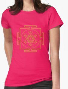 Yantra metatrons cube merkaba sacred geometry geek funny nerd Womens Fitted T-Shirt