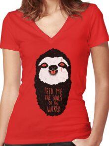 Evil Sloth Women's Fitted V-Neck T-Shirt