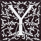 "Art Nouveau ""Y"" (William Morris Inspired) by Donna Huntriss"