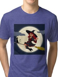 Witch on Broom with Black Cat Tri-blend T-Shirt