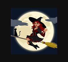 Witch on Broom with Black Cat Unisex T-Shirt