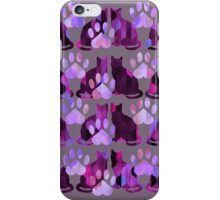 Purple Cats and Paws Pattern iPhone Case/Skin