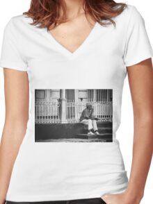 Smoke a little smoke  Women's Fitted V-Neck T-Shirt