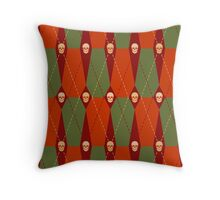Coffin Plaid Red Throw Pillow