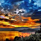 Sunset  over Skiathos Greece  by larry flewers