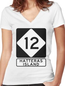 NC 12 - Hatteras Island Women's Fitted V-Neck T-Shirt